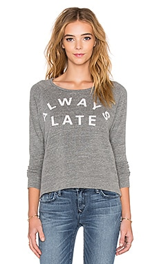 SUNDRY Always Late Crop Pullover in Heather Grey