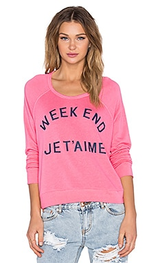 SUNDRY Weekend Crop Sweatshirt in Flamingo