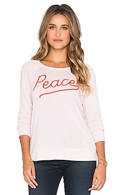 SUNDRY Peace Crop Sweatshirt in Petal