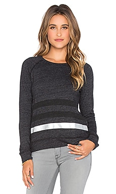 SUNDRY Striped Basic Sweatshirt in Black