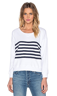 SUNDRY Stripes Ribbed Sweatshirt in White