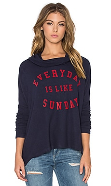 SUNDRY Sunday Hooded Pullover Sweatshirt in Navy