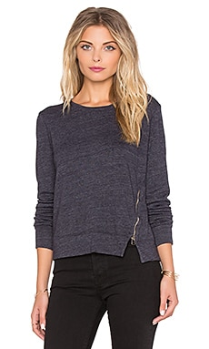 SUNDRY Zip Detail Sweatshirt in Midnight