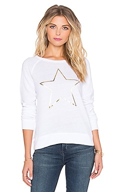 SUNDRY Gold Star Basic Raglan Sweatshirt in White