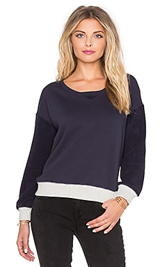 SUNDRY Contrast Rib Sweatshirt in Midnight