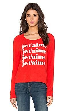 SUNDRY Je T'aime Crop Sweatshirt in Coral