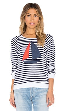 SUNDRY Sailboat Sweatshirt in Navy Stripe
