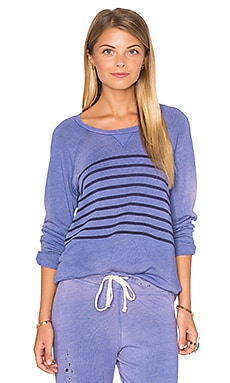 SUNDRY Raglan Striped Sweatshirt in Sun Faded Blue