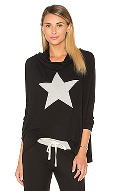 Star Drapey Pullover in Black