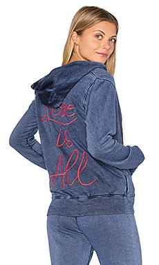 SUNDRY Light Terry Love Is All Hoodie in Vintage Navy