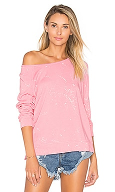 SUNDRY Raglan Paint Splatter Sweatshirt in Candy