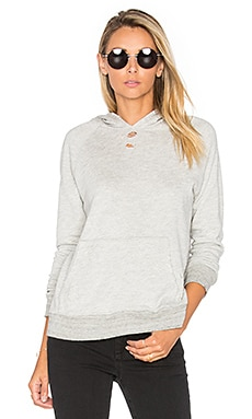 SUNDRY Distressed Pullover Hoodie in Heather Grey