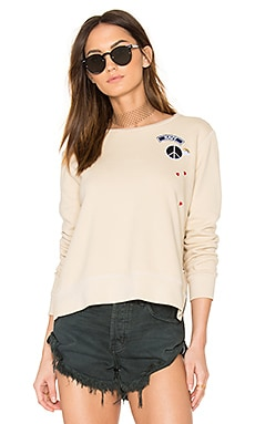 Zip Crew Neck Patch Sweatshirt in Khaki