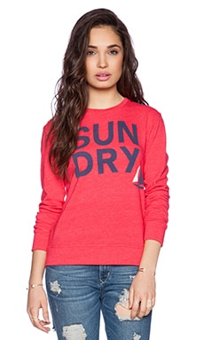 SUNDRY Basic Sweatshirt in Cherry