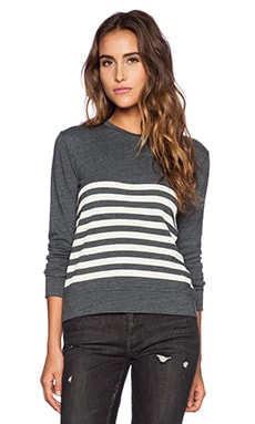 SUNDRY Stripe Basic Sweatshirt in Asphalt