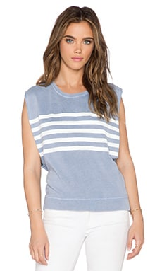 SUNDRY Stripe Muscle Sweatshirt in Vintage Pale Blue