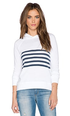 SUNDRY Stripe Pullover Hoodie in White