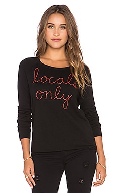 SUNDRY Locals Only Crop Pullover in Black