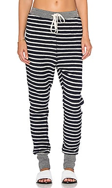 SUNDRY Stripe Sweatpant in Navy, White & Heather Grey