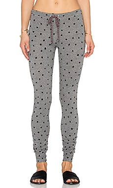 SUNDRY Polka Dot Skinny Sweatpant in Heather Grey