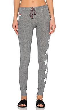 SUNDRY Stars & Hearts Skinny Sweatpant in Heather Grey