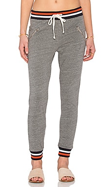 SUNDRY Striped Rib Zip Sweatpant in Heather Grey