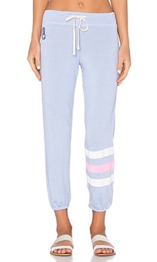 SUNDRY Fleece Graphics Stripes Sweatpant in Mist Stripe