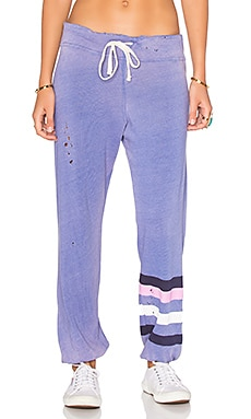 Classic Striped Sweatpants in Sun Faded Blue