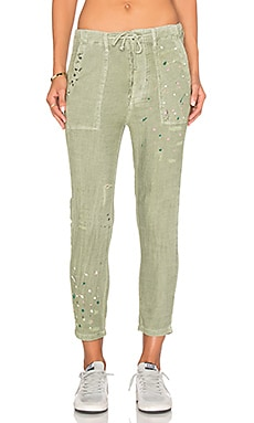 SUNDRY Paint Splashes Drawstring Pant in Pigment Olive