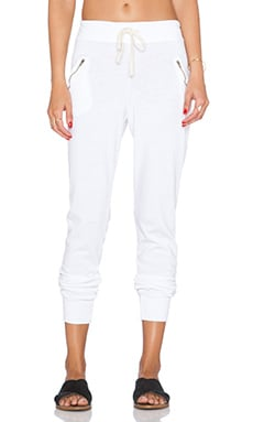 SUNDRY Zipper Sweatpant in White