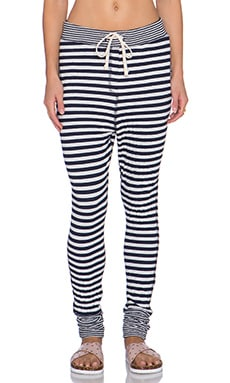 SUNDRY Roll Cuff Stripe Sweatpant in White & Blue