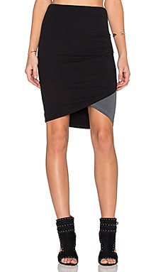 SUNDRY Contrast Tulip Skirt in Dark Grey & Black