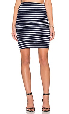 SUNDRY Stripe Mini Skirt in Midnight