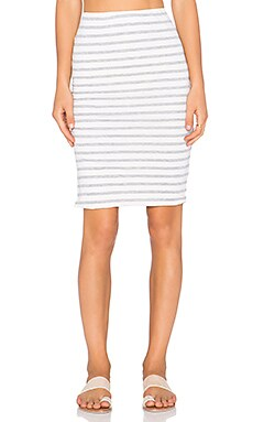 SUNDRY Stripe Midi Skirt in Seashell