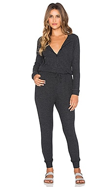 SUNDRY Long Sleeve Henley Jumpsuit in Heather Charcoal