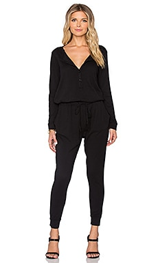 SUNDRY Long Sleeve Henley Jumpsuit in Black