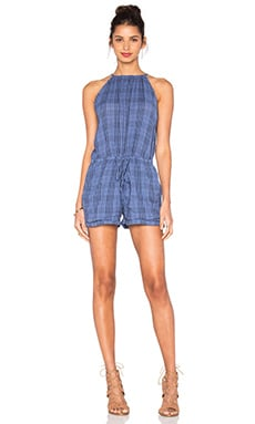 SUNDRY Gauze Plaid Romper in Denim