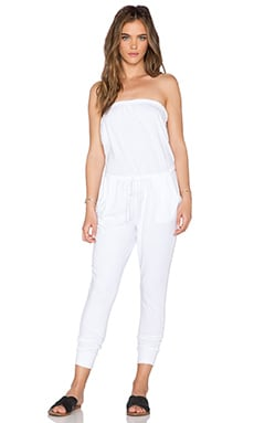 SUNDRY Strapless Jumpsuit in White