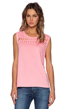 SUNDRY Holes Muscle Tee in Neon Heat