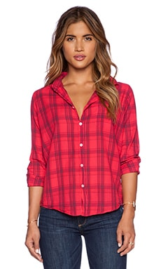 SUNDRY Plaid Oversized Button Up Top in Cherry