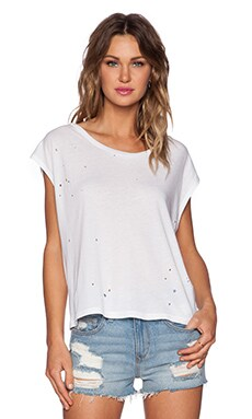 SUNDRY Holes New Square Tee in White