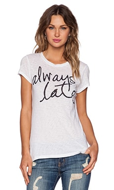 SUNDRY Always Late Boy Tee in White