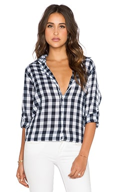 SUNDRY Plaid Oversized Button Up in White