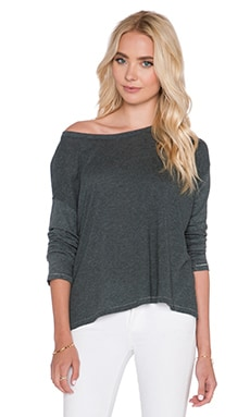SUNDRY Drop Shoulder Long Sleeve Tee in Dark Heather Grey