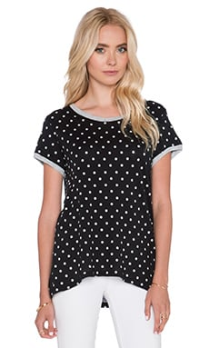 SUNDRY Polka Dot Loose Tee in Black Pigment
