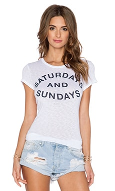 SUNDRY Saturdays & Sundays Tee in White