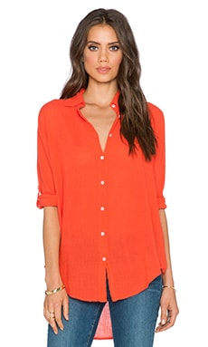 SUNDRY Oversized Button Up in Coral