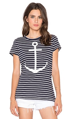 SUNDRY Striped Anchors Away Tee in White & Blue
