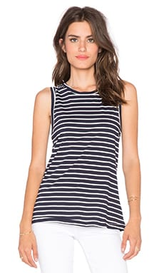 SUNDRY Striped Muscle Tank in White & Blue