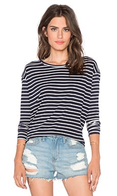 SUNDRY Striped Long Sleeve Drop Shoulder Tee in White & Blue